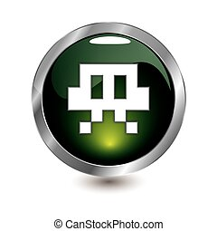 leichtes grün, retro, ikone