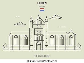leiden, pieterskerk, 教会, ランドマーク, netherlands., アイコン