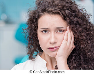 leidensdruck, frau, junger, zahnschmerzen