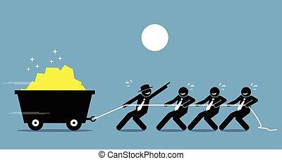 leider, aan het werk aaneen, met, werknemers, en, werkmannen , te werken, hard, met, aanmoediging, en, help.