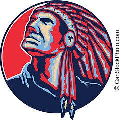 leider, amerikaan indiaas, retro, inlander