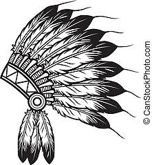 leider, indiër, headdress