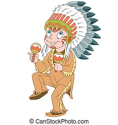 leider, indiër, inheemse amerikaan, spotprent