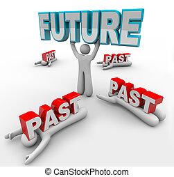 leider, met, visie, accepts, toekomst, veranderen, anderen, stuck, in, voorbij