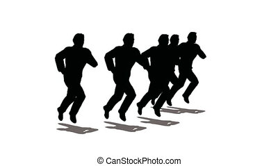 leider, van, rennende , mensen, silhouette