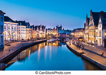 Leie river bank in Ghent, Belgium, Europe. - Picturesque...