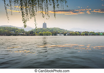 leifeng pagoda in evening glow,beautiful the west lake...
