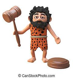 leilão, caveman, personagem, ilustração, segurando, gavel, 3d