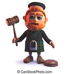 leilão, kilt, scots, segurando, auctioneers, gavel, homem, caricatura, 3d