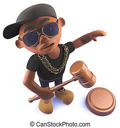 leilão, rapper, hiphop, pretas, africano, gavel, martelo, caricatura, 3d