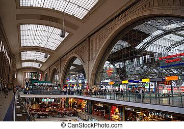 Inside of Leipzig Central Station, Saxony, Germany