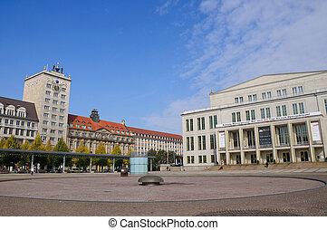 Northward of Augustusplatz(Augustus Square) in Leipzig, Saxony, Germany