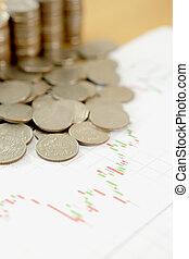 leistung, geldmünzen, schaubilder