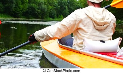 Leisure activities with friends. Friends on the kayak. -...