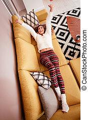 Leisure Activity - Beautiful young woman having fun at...