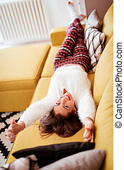 Leisure Activity - Beautiful young woman resting and...