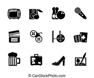 Silhouette Leisure activity and objects icons - vector icon set