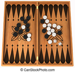 Leisure activity: wooden backgammon isolated over white