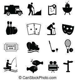 Leisure and fun activities icon set