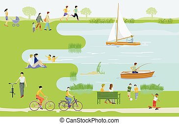 Leisure and recreation at the lake illustration.eps