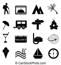 Leisure and recreation icon set on white background