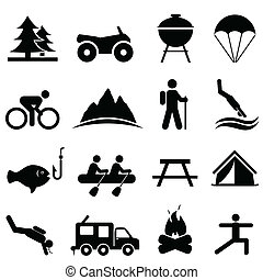Leisure and recreation icons - Leisure, outdoors and ...