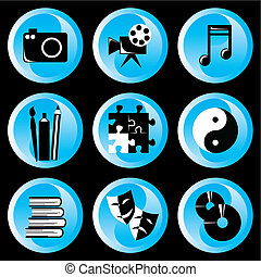 leisure buttons - set of vector icons on the theme of art,...