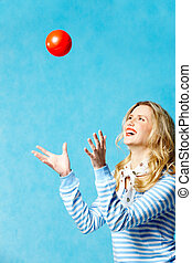 Leisure games - Portrait of young cheerful woman playing...