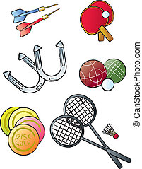 Various objects and equipment used in leisure sports and lawn games.