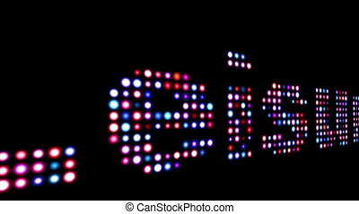 Leisure led text over black