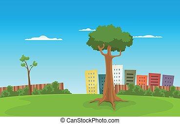 Leisure Park - Illustration of a cartoon urban green park...
