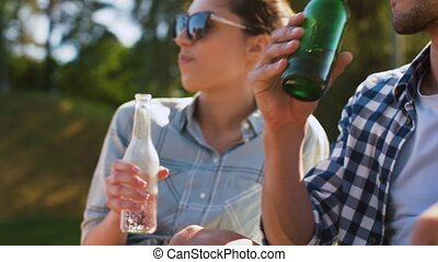friends drinking beer and cider outdoors - leisure, picnic...