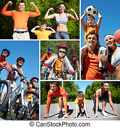 Leisure  - Collage of happy family going in for sports