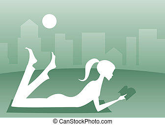 Leisure Reading - Silhouette of a girl lying in the grass...