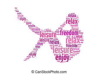 leisure relax freedom enjoy text on women graphic and arrangement concept