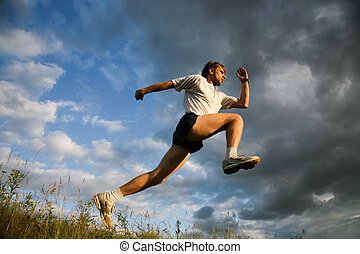 Leisure - Image of pumped man training on open air