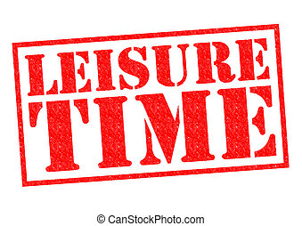 LEISURE TIME red Rubber Stamp over a white background.