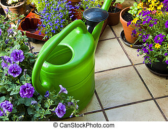 summer time, terrace with beautiful flowers and a watering can