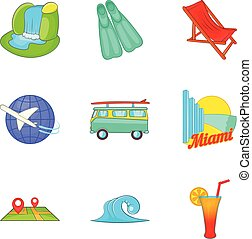 Leisure time icons set, cartoon style - Leisure time icons...