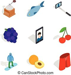 Leisure time icons set, isometric style - Leisure time icons...