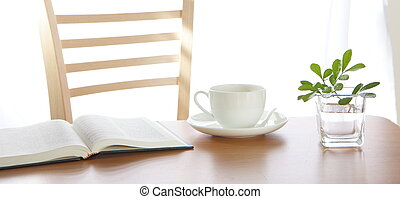Leisure time with a book and coffee