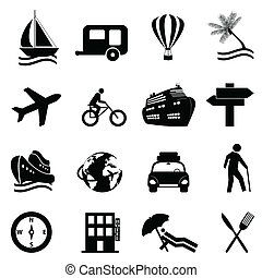 Leisure, travel and recreation icon set on white background