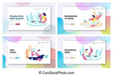 Leisure, Traveling, Free Spare Time Website Landing Page Set, People Visiting Sushi Restaurant, Share Pictures from Trip. Vacation, Leisure Activity Web Page. Cartoon Flat Vector Illustration, Banner