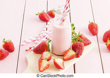 leite, com, morangos frescos