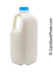 leite, em, um, recipiente plástico