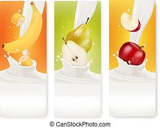 leite, fruta, banners., vector., três
