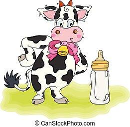 leite, verde, garrafa, bebê, cute, vaca, capim