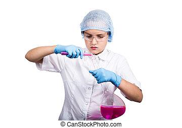 leiten, aufmerksam, wissenschaft, schoolgirl, versuch, elementar, chemie klasse