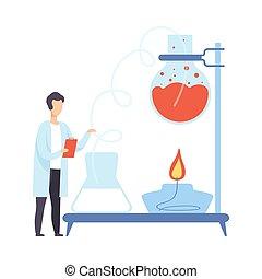 leiten, wissenschaftler, liquid., mann, versuch, heiß, vektor, illustration.