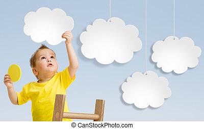leiter, befestigen, himmelsgewölbe, wolkenhimmel, begriff, kind